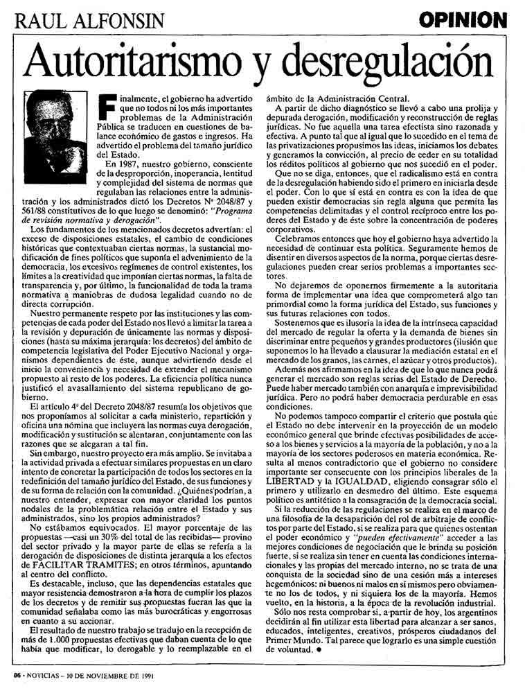 Autoritarismo y desregulación