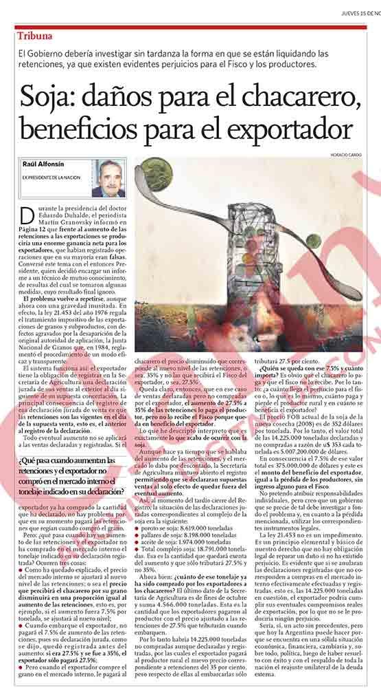 Soja: daños para chacarero, beneficios para el exportador