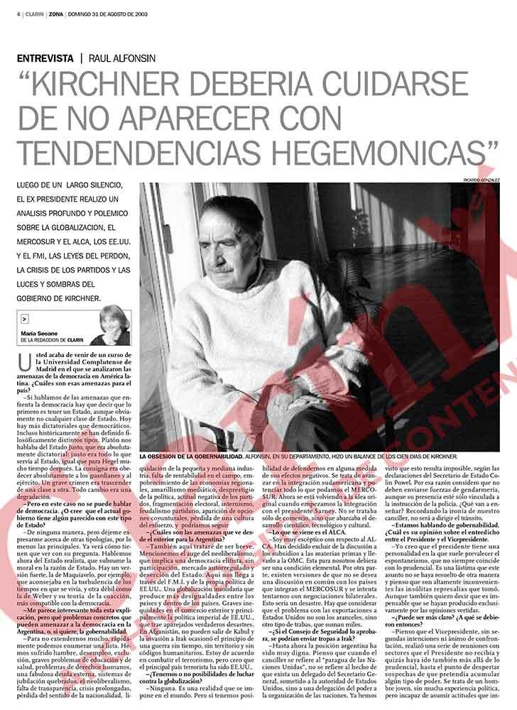Entrevista a Raúl Alfonsín